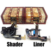 Wholesale Sales Top Handmade Tattoo Machine Gun Shader Liner Gift Wood Box A08