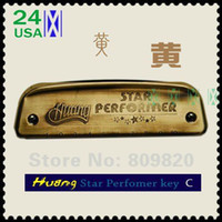 Wholesale New Huang Star Performer Brass Harmonica Blues Harp Diatonic key A