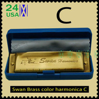 Wholesale New Brass Bronze color Swan Harmonica Blues Diatonic Harps C Tune with box clean cloth