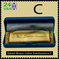 Harmonica diatonique c cygne Avis-New Brass Bronze couleur Swan Harmonica Blues Diatonic Harps C Tune avec boîte chiffon propre