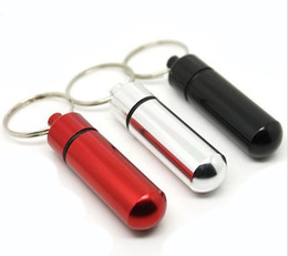 Wholesale Pieces Keychain Pill Box WaterProof Aluminum Pill Case Bottle Holder Container