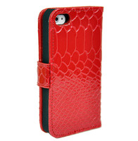 Leather For Apple iPhone  50pcs Luxury Crocodile Design Wallet Leather Case Cover With Credit ID Card Holder For iPhone 5 5G