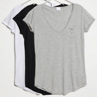 Wholesale Brand New Women V Neck Shirt Fashion Slim Women Modal Pocket Short sleeved T shirt