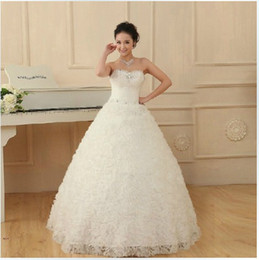 Hot Ivory strapless Organza lace-up waistband bodice beadings sequins A-line wedding dresses of brides
