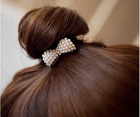 Wholesale Pearl Bow Crystal Hair Rope Hair Ring Fashion Women Hair Accessories Hair Ornaments