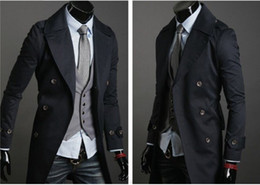 Wholesale Men s trench coat casual fasion slim fit long style double button black beige army green Size