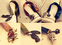Wholesale 10pcs Green Blue Brown Ribbon Bookmarks Alloy Copper Feather Angel Crown White Pearl Silk Bookmarker