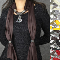 Wholesale 6pcs mix colors Dragon pendant scarf rhinestones lucky charm jewelry necklace scarves wrap collar