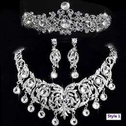 Wholesale Wow Perfect Bride s crystal tiers Tiaras earring and necklace set pieces RH1023