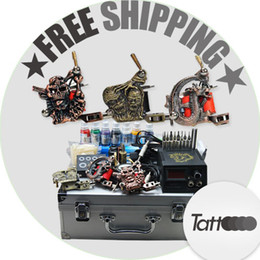 Wholesale Professional complete cheap tattoo kits guns machines ink sets needles grips tubes power arrive within days D25