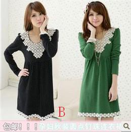 Wholesale Spring Autumn New Pregnant Women Dress Long Sleeve Skirt Of Pregnant Women Size M XL t0315