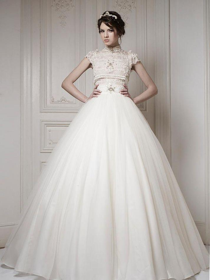 Best selling high collar empire waist organza floor length for High collared wedding dress