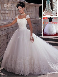 Wholesale Elegent Hot Tulle Cap Sleeves With Free Veil amp Petticoat Ball Gown Wedding Dresses buy get