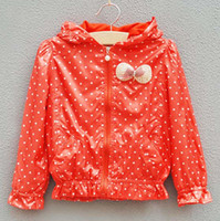 Girl 4T-5T 110-120-130-140 Children Hoodie Sweatshirts Kids Waterproof Coats Girls Cute Bowknot Jackets Child Polka Dot Hoodies