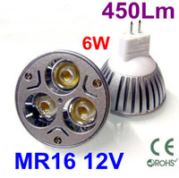Wholesale 3x2W Magnesium Alloy MR16 W AC V Energy Saving LED Spot Light Lm Fest turn on LED Bulbs