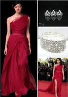 Reference Images awards hair - Sexy Elie Saab Chiffon Red Prom Celebrity Dresses Free Hair Pins Free Bracelet Cuff buy get