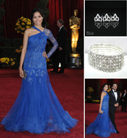 Wholesale Freida Pinto Chiffon Blue Prom Celebrity Dresses Free Hair Pins Free Bracelet Cuff buy get