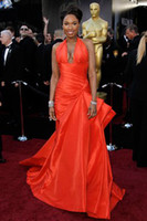Wholesale 2011 rd Oscar Annual Academy Awards Jennifer Hudson Celebrity Dress Halter Ruffle Prom Dresses