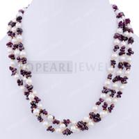 Livraison gratuite! 3 Strand White Pearl perle d'eau douce Chip Collier NJ304460