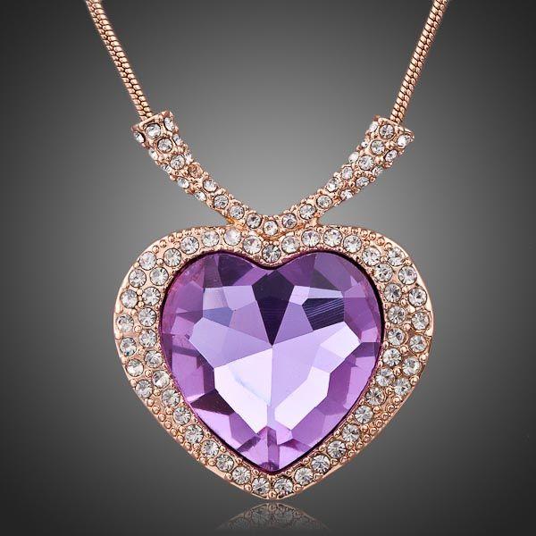 2017 noble purple heart diamond rose gold chains charm