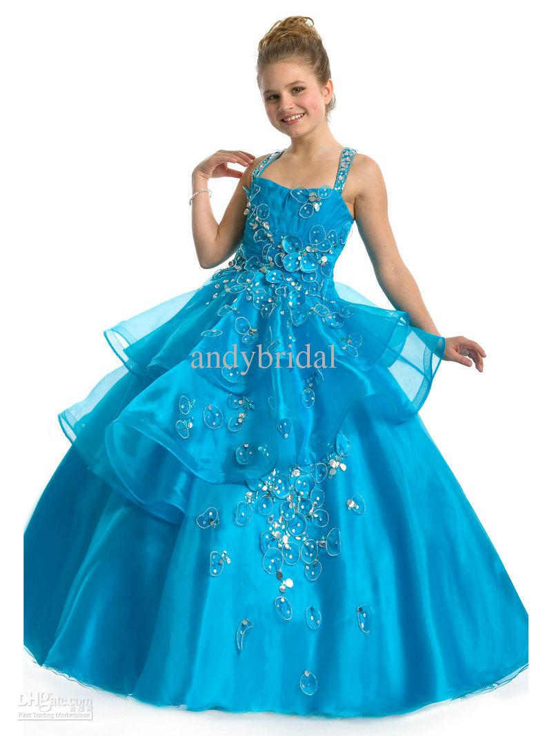 Cross Straps Blue Girls Pageant Dresses Square Ball Gown Beaded ...