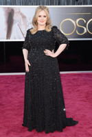 Cheap Adele 85th Annual Academy Awards Red Carpet Pageant Dress Black Plus Size 1 2 Sleeve Beading Fabric