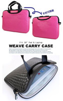 Wholesale 10pcs PU leather weave carry bags fleece lined cases for Ipad2 New ipad ipad series laptop