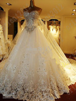 Wholesale Newest Luxury Bride Dress Shiny Rhinestone Crystals Cathedral Wedding Dress Sleeveless Lace Court Train A Line Wedding Dresses