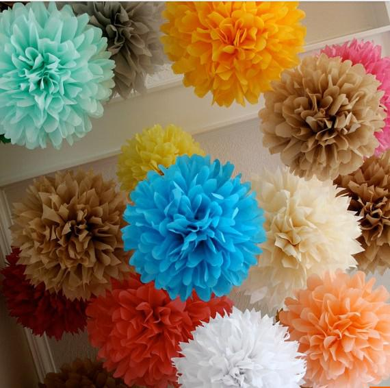 Cheap paper flowers inch wedding decoration paper pom pom blooms tissue paper pom poms flower balls cheap paper flowers mightylinksfo Images