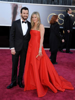 Wholesale Academy Awards th Oscar Jennifer Aniston Red Taffeta A line Court Train Backless Celebrity Dresses