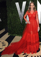 Wholesale Hilary Swank Laurent Oscar Party Dresses Sheer Jewel Long Sleeve Pleated Fleury Court Train