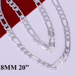 20Pcs Men's jewelry 925 Silver 8mm Flat Figaro Chains Necklace Cool Men's Necklace 20inch 51cm