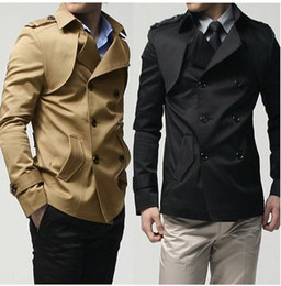 Wholesale New mens coat double breasted shoulder knot design trench coat Black khaki M XL