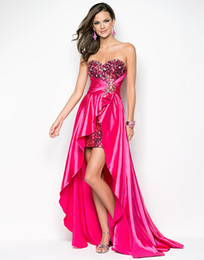 Wholesale 9508 Fuchsia Sequins Party Dresses Hi Lo Crystal Sweetheart Free Earings Free Bracelet Buy Get