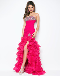 Wholesale 9511 Cerise Layered Hi Lo Prom Dresses Beads Sequin Ruffle Free Earings Free Bracelet Buy Get