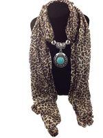 Chiffon animal print leopard necklace - Mixed Pendants Leopard print Jewelry Beads Scarf Lady Chiffon Magic necklace alloy pendants Scarves