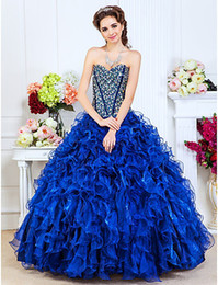 Wholesale Actual Image Sexy Strapless Beaded Crystals Organza Ball Gown Party Quinceanera Dresses DH4136