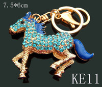 Wholesale 12pcs mixed color Unisex hot sell Zinc alloy crystal rhinestone animal Key chain fashion Keychains key ring KE11
