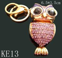 Wholesale 12pcs mixed color Unisex hot sell Zinc alloy crystal rhinestone animal Key chain fashion Keychains key ring KE13