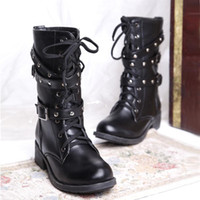 other Women Winter handsome cool boots fashion buckle motorcycle boots charm lacing medium-leg boots women's shoes