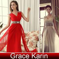 Wholesale Grace Karin Korean Wedding Bridal Dress Deep V neck Party Gown Prom Evening Dresses CL3403