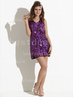 Sheath/Column Sexy Beads Cheap Dresses Sexy Cocktail Dresses 2013 Purple Mini Sequin Prom Dresses Short Evening Dresses WM991