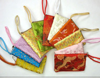 Wholesale Women iphone Wrist Purse Zipper Silk Fabric Cell Phone Pouches Cases mix color Free