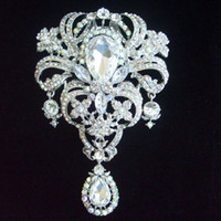 Other ab bridal - 5 quot Gorgeous Bridal Drip Flower Brooch Pin w AB Clear Rhinestone Crystals EE04042C2