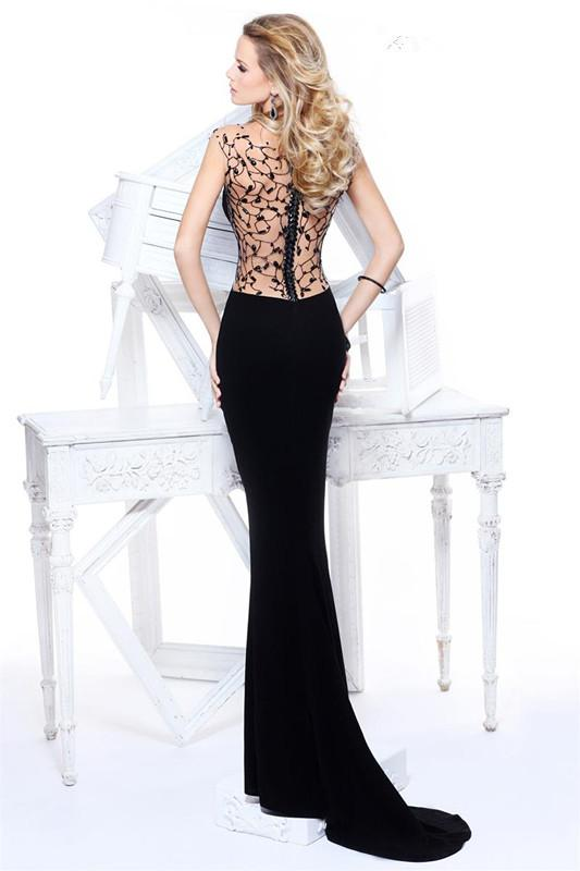 Black mermaid evening dress formal gown with net diamonds backless