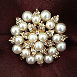 Wholesale 2 Inch Gold Plated Cream Pearl and Rhinestone Crystal Diamante leaf Flower Bridal Cake Brooch Pins