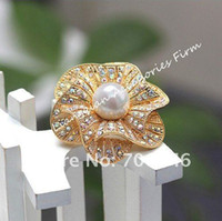 Wedding beautiful center - Gold Plated Beautiful Clear AB Rhinestone Crystal White Faux Pearl Center Flower Bridal Brooch