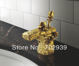 EMS(DHL) Free shipping GOLD Finish Bathroom rose flower Sink Faucet luxury single hole