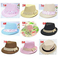 Wholesale Kids Straw Fedora Hat Baby Summer Straw Cowboy Hat Boys Girls Straw Fedoras Baby Strawhat