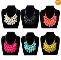 Wholesale 2013 Women Bubble Bib Statement Chain Choker Necklace Pear Bead Plastic Resin
